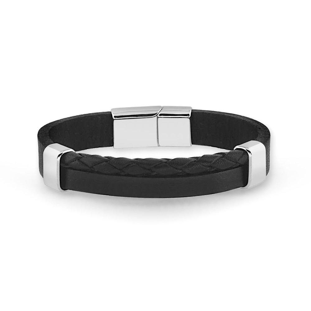 Hasır Tasarım Çift Sıra Siyah Çelik-Deri Kombinli Erkek Bileklik