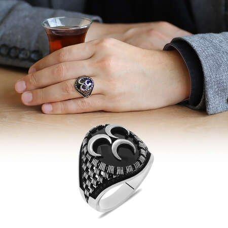 Siyah Zirkon Taş üzeri 3 Hilal Motifli 925 Ayar Gümüş Erkek Yüzük - Thumbnail