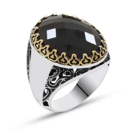 Siyah Zirkon Taşlı 925 Ayar Gümüş Erkek Yüzük(Yanlara isim yazılabilir) - Thumbnail