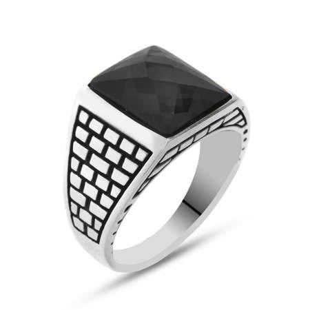 Siyah Zirkon Taşlı 925 Ayar Gümüş Kaledar Yüzüğü - Thumbnail