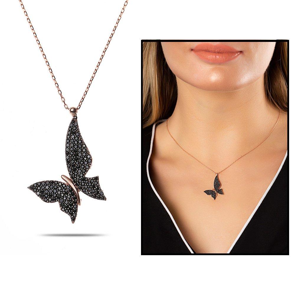 Siyah Zirkon Taşlı Asimetrik Tasarım Rose Renk 925 Ayar Gümüş Kelebek Kolye