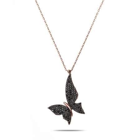 Siyah Zirkon Taşlı Asimetrik Tasarım Rose Renk 925 Ayar Gümüş Kelebek Kolye - Thumbnail