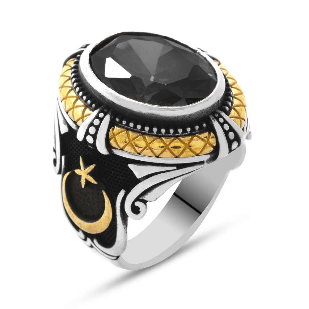 Siyah Zirkon Taşlı Ayyıldız Tasarım 925 Ayar Gümüş Sadrazam Yüzüğü