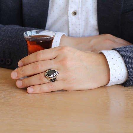 Siyah Zirkon Taşlı Ayyıldız Tasarım 925 Ayar Gümüş Sadrazam Yüzüğü - Thumbnail