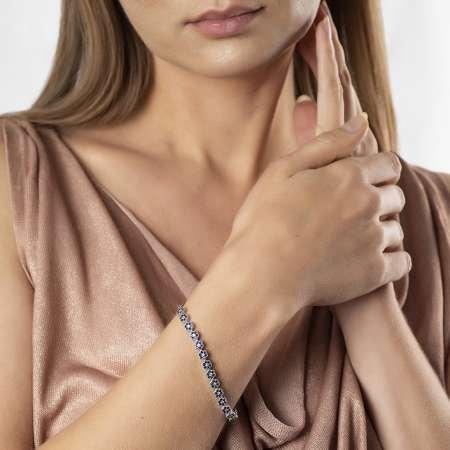 Siyah Zirkon Taşlı Çiçek Tasarım Tam Tur 925 Ayar Gümüş Kadın Bileklik - Thumbnail