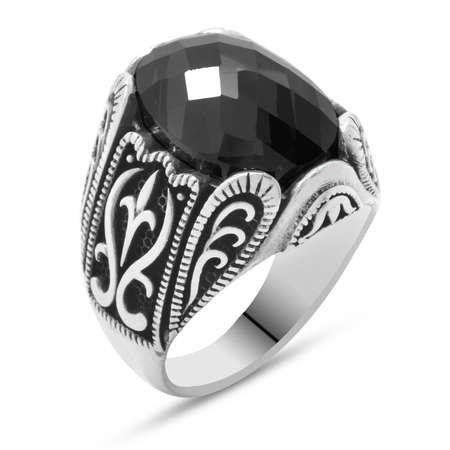 Siyah Zirkon Taşlı Ferforje Tasarım 925 Ayar Gümüş Erkek Yüzük - Thumbnail