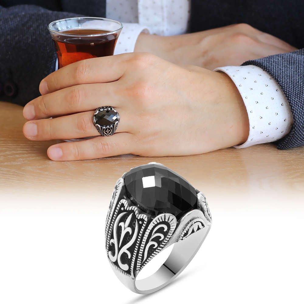 Siyah Zirkon Taşlı Ferforje Tasarım 925 Ayar Gümüş Erkek Yüzük