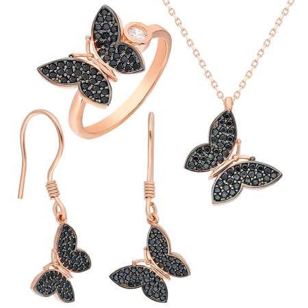 Siyah Zirkon Taşlı Kelebek Tasarım 925 Ayar Gümüş 3'lü Takı Seti - Thumbnail