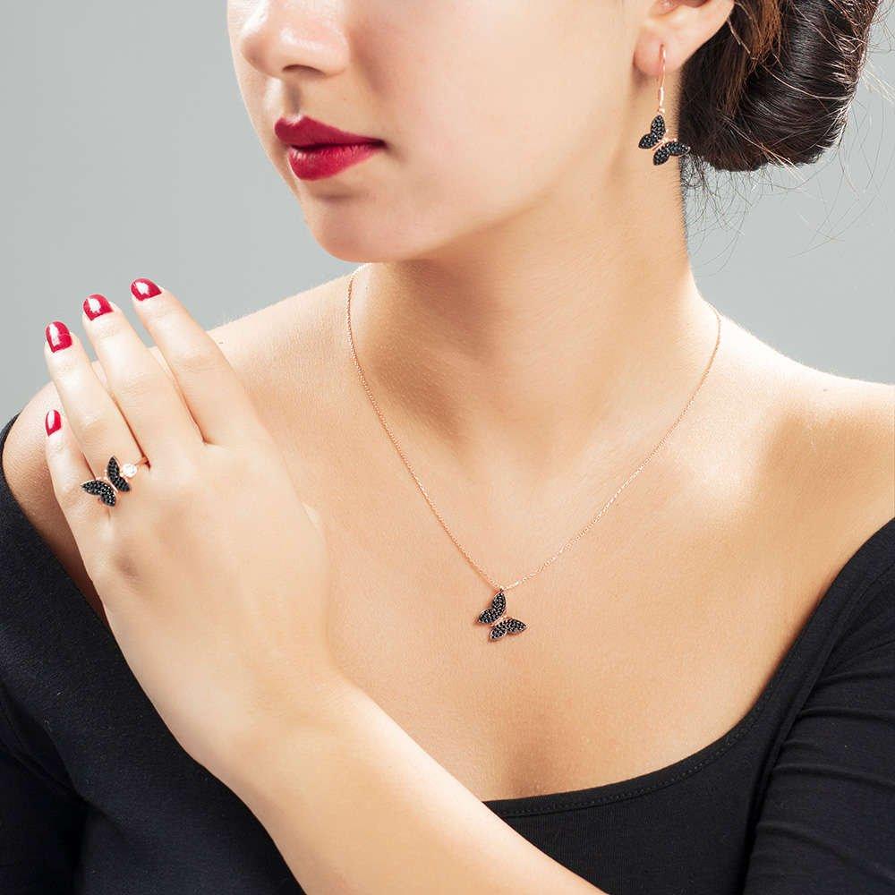 Siyah Zirkon Taşlı Kelebek Tasarım 925 Ayar Gümüş 3'lü Takı Seti