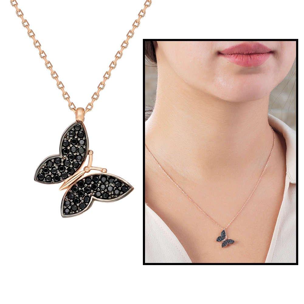 Siyah Zirkon Taşlı Kelebek Tasarım 925 Ayar Gümüş Bayan Kolye