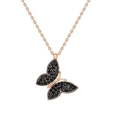 Siyah Zirkon Taşlı Kelebek Tasarım 925 Ayar Gümüş Bayan Kolye - Thumbnail
