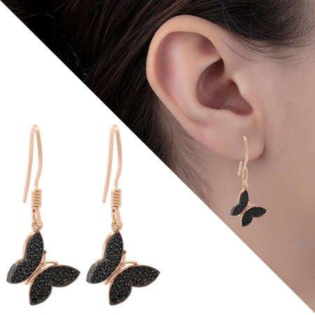 Siyah Zirkon Taşlı Kelebek Tasarım 925 Ayar Gümüş Bayan Küpe - Thumbnail