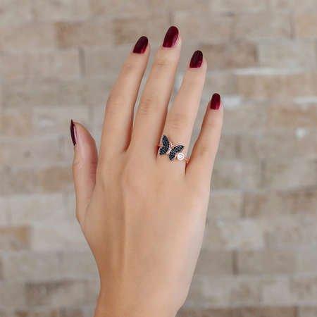 Siyah Zirkon Taşlı Kelebek Tasarım 925 Ayar Gümüş Bayan Yüzük - Thumbnail
