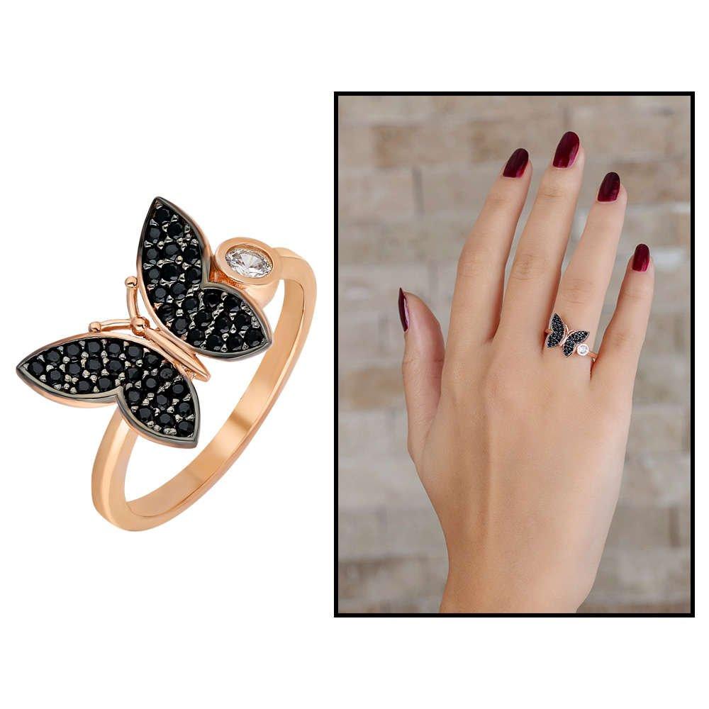 Siyah Zirkon Taşlı Kelebek Tasarım 925 Ayar Gümüş Bayan Yüzük