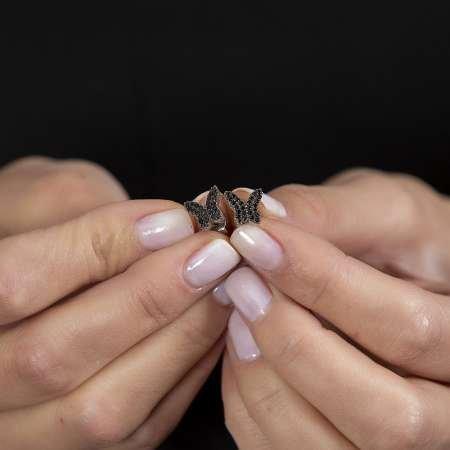 Siyah Zirkon Taşlı Kelebek Tasarım 925 Ayar Gümüş Kadın Küpe - Thumbnail