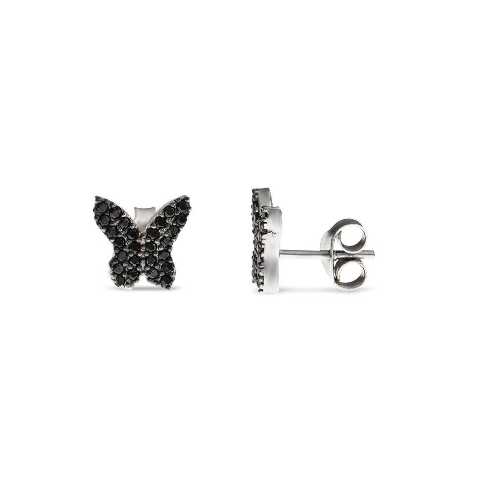 Siyah Zirkon Taşlı Kelebek Tasarım 925 Ayar Gümüş Kadın Küpe