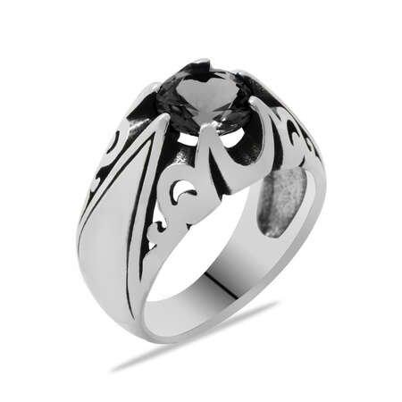 Siyah Zirkon Taşlı Minimal Tasarım 925 Ayar Gümüş Erkek Yüzük - Thumbnail
