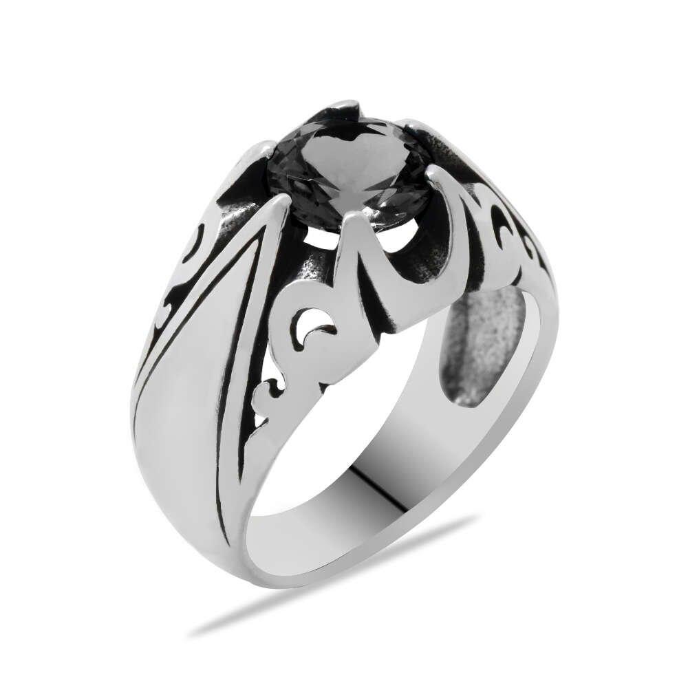 Siyah Zirkon Taşlı Minimal Tasarım 925 Ayar Gümüş Erkek Yüzük
