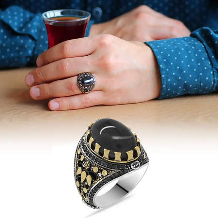 Siyah Zirkon Taşlı Oval Tasarım 925 Ayar Gümüş Erkek Yüzük - Thumbnail