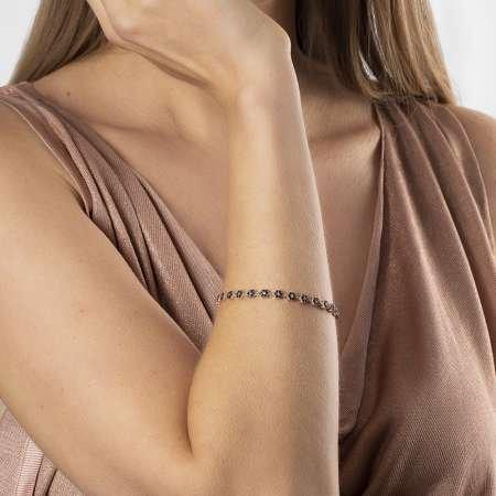 Siyah Zirkon Taşlı Papatya Tasarım Tam Tur 925 Ayar Gümüş Kadın Bileklik - Thumbnail