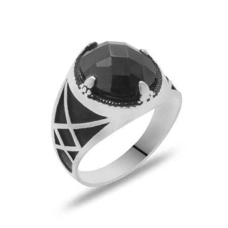 Siyah Zirkon Taşlı Şık Tasarım 925 Ayar Gümüş Erkek Yüzük - Thumbnail