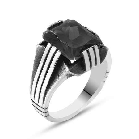 Siyah Zirkon Taşlı Zarif Tasarım 925 Ayar Gümüş Erkek Yüzük - Thumbnail