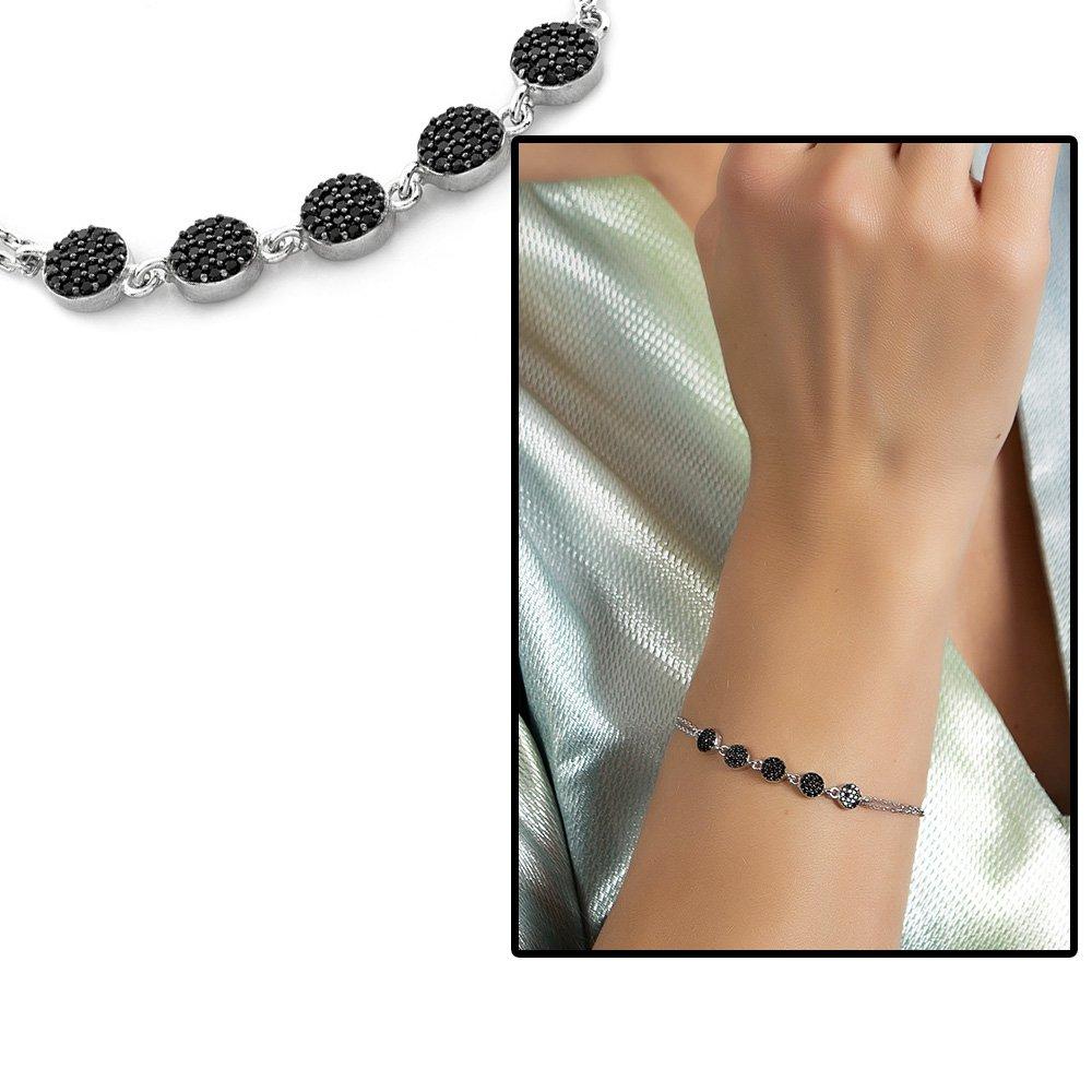 Siyah Zirkon Taşlı Zarif Tasarım 925 Ayar Gümüş Su Yolu Kadın Bileklik