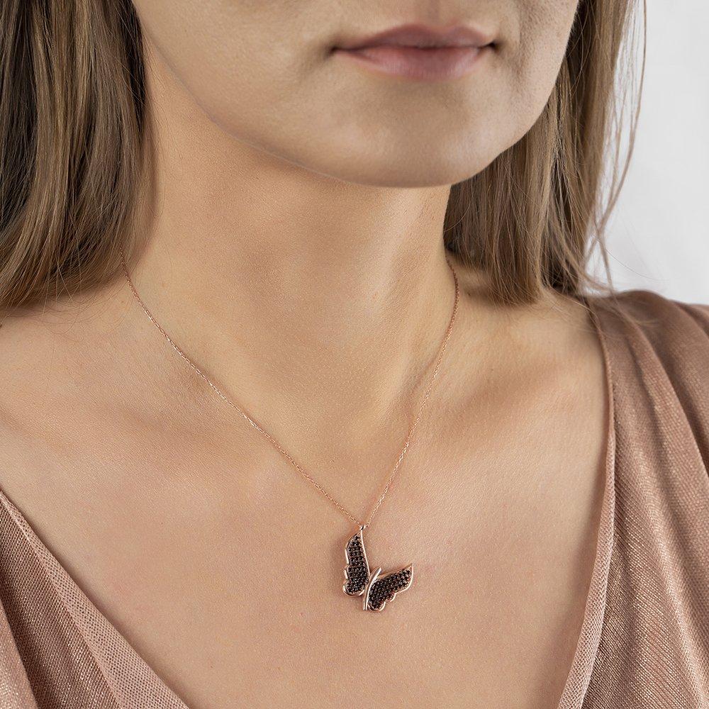 Siyah Zirkon Taşlı Zarif Tasarım Rose Renk 925 Ayar Gümüş Kelebek Kolye