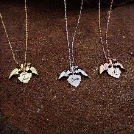Zirkon Taşlı Açılır Kalp Kişiye Özel İsim Yazılı 925 Ayar Gümüş Kolye - Thumbnail