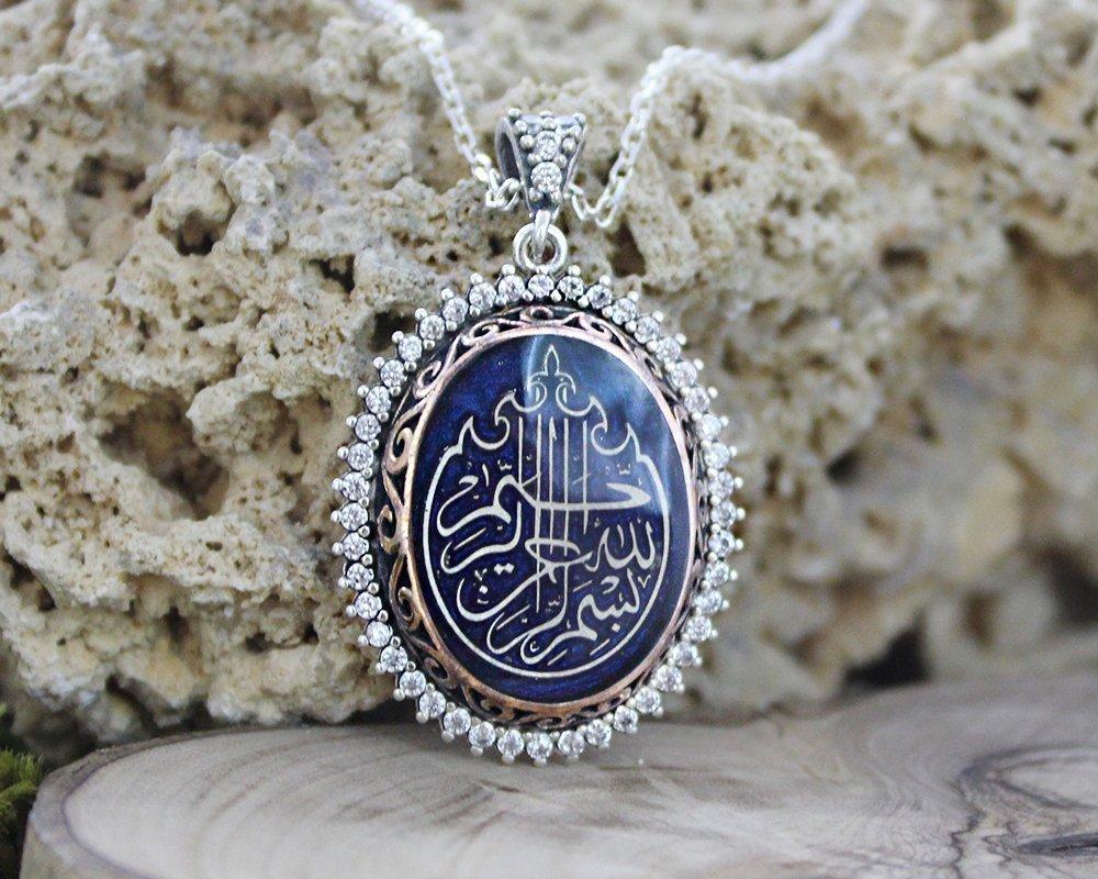 Zirkon Taşlı Kişiye Özel Arapça İsim Yazılı 925 Ayar Gümüş Bayan Kolye