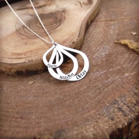 Üç Damla Tasarım Kişiye Özel İsim Yazılı 925 Ayar Gümüş Bayan Kolye - Thumbnail