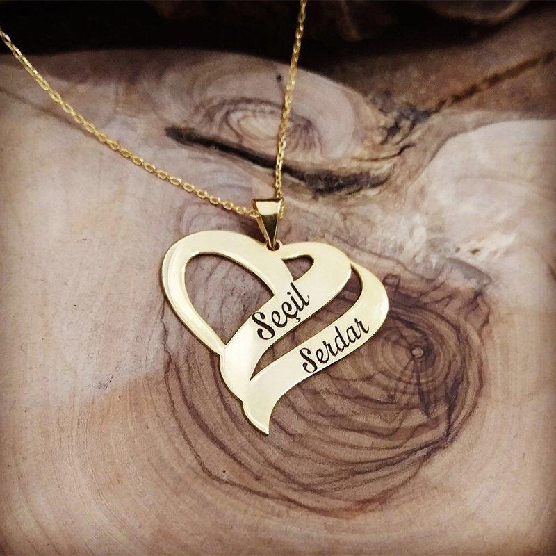 Çift Kalp Tasarım Kişiye Özel İki İsim Yazılı 925 Ayar Gümüş Kolye