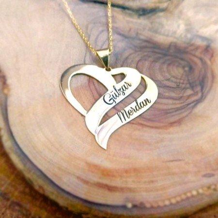 Çift Kalp Tasarım Kişiye Özel İki İsim Yazılı 925 Ayar Gümüş Kolye - Thumbnail
