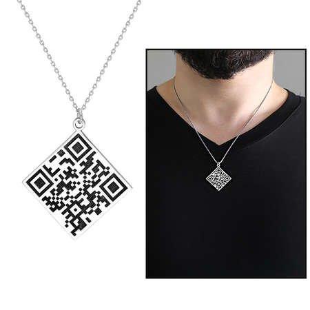 Karekod Tasarım 925 Ayar Gümüş Kişiye Özel Erkek Kolye - Thumbnail