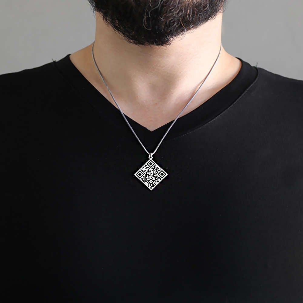 Karekod Tasarım 925 Ayar Gümüş Kişiye Özel Erkek Kolye