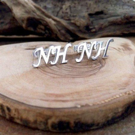 Kişiye Özel Harf Yazılı 925 Ayar Gümüş Kol Düğmesi - Thumbnail