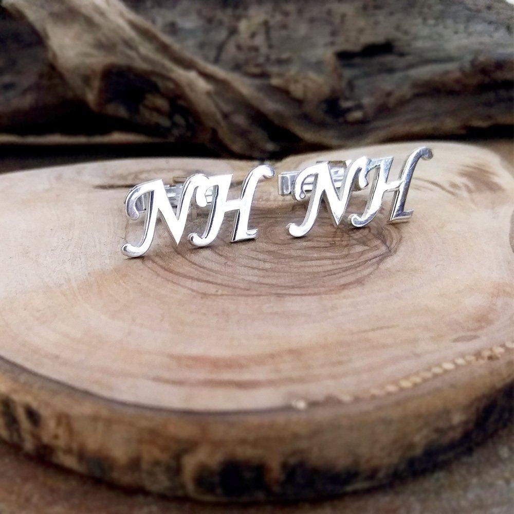 Kişiye Özel Harf Yazılı 925 Ayar Gümüş Kol Düğmesi