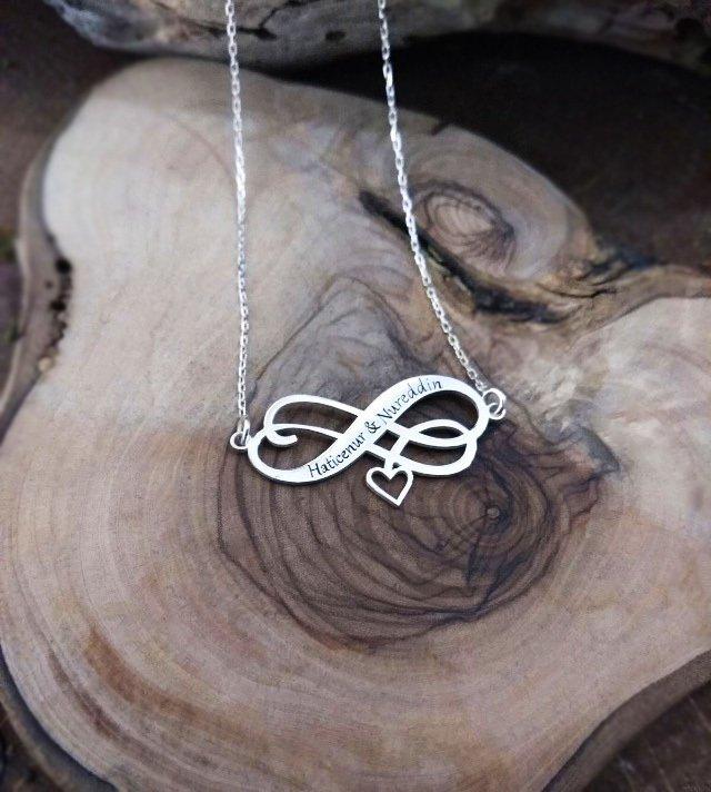 Sonsuzluk-Kalp Tasarım Kişiye Özel İki İsim Yazılı 925 Ayar Gümüş Kolye
