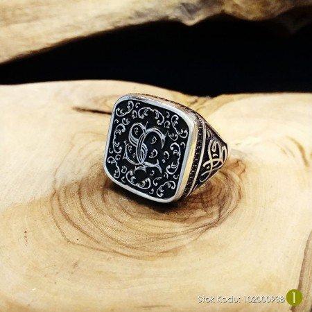 Kişiye Özel İsim ve Resim Motifli Mineli 925 Ayar Gümüş Erkek Yüzük (M-8) - Thumbnail