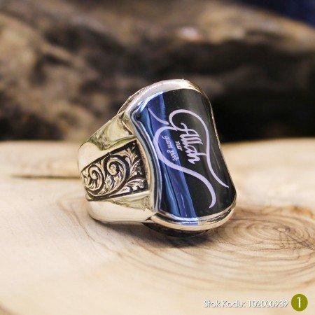 Kişiye Özel İsim ve Resim Motifli Mineli 925 Ayar Gümüş Erkek Yüzük (M-4) - Thumbnail
