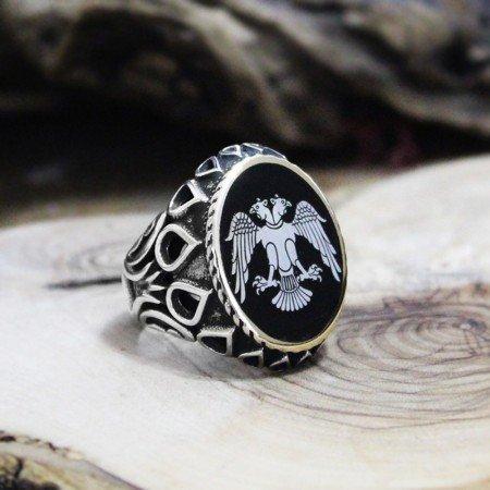 Kişiye Özel Resim Motifli Damla İşlemeli Mineli 925 Ayar Gümüş Erkek Yüzük - Thumbnail