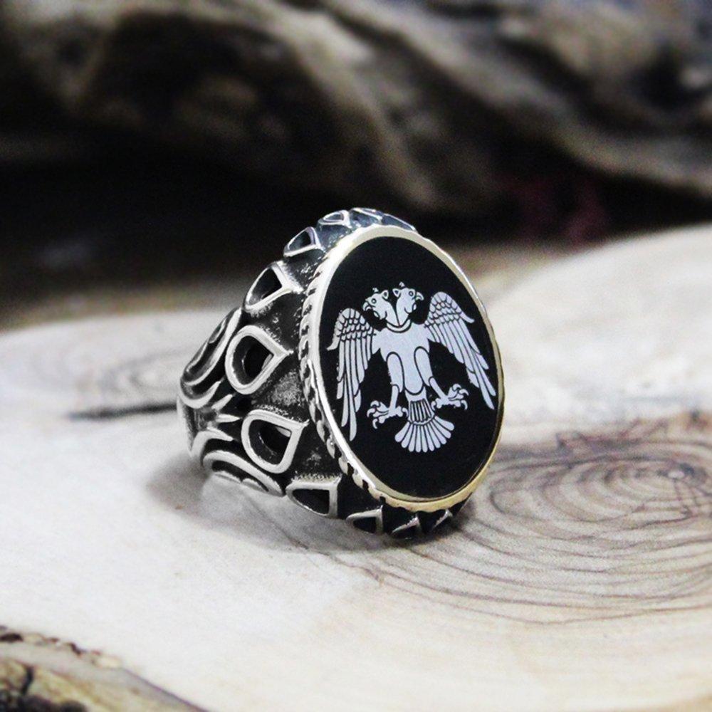 Kişiye Özel Resim Motifli Damla İşlemeli Mineli 925 Ayar Gümüş Erkek Yüzük