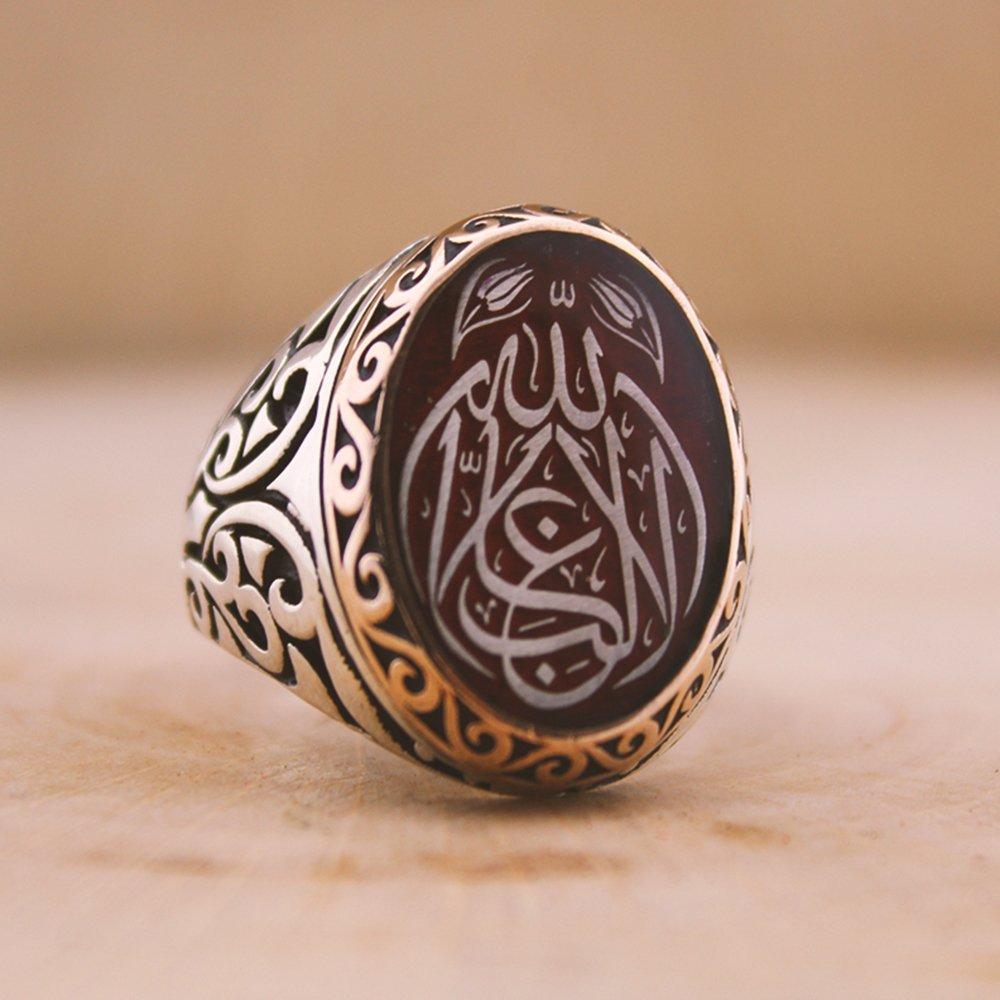 Kişiye Özel Arapça İsim Yazılı Mineli Oval 925 Ayar Gümüş Erkek Yüzük (M-1)