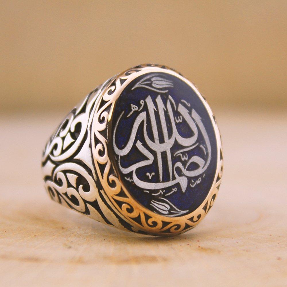 Kişiye Özel Arapça İsim Yazılı Mineli Oval 925 Ayar Gümüş Erkek Yüzük (M-4)