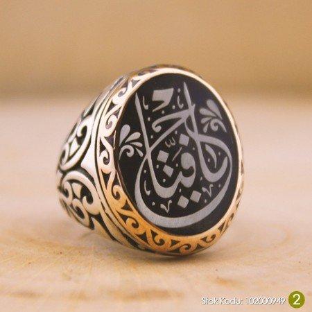 Kişiye Özel Arapça İsim Yazılı Mineli Oval 925 Ayar Gümüş Erkek Yüzük (M-4) - Thumbnail