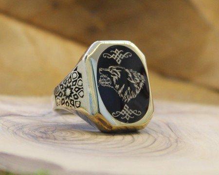 Kişiye Özel İsim ve Resim Motifli Mineli Köşeli 925 Ayar Gümüş Erkek Yüzük - Thumbnail
