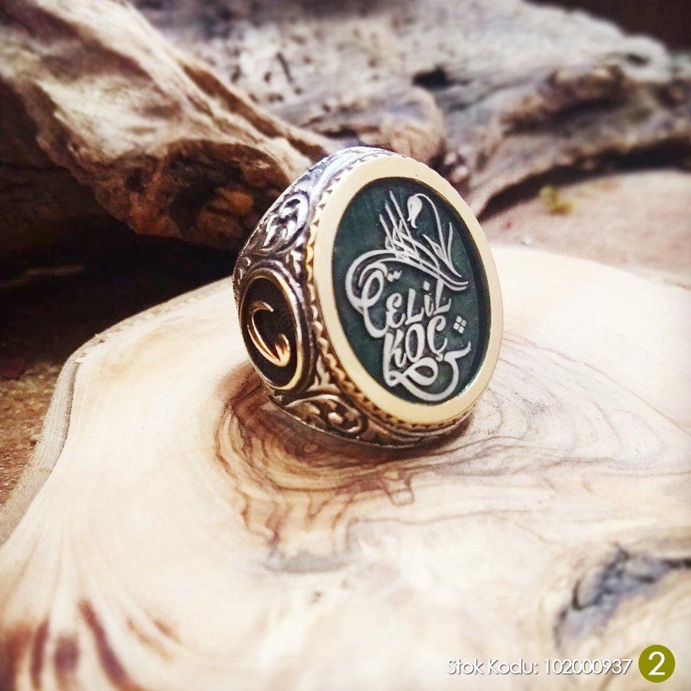Siz İsteyin Biz Yapalım - Kişiye Özel Yazılı 925 Ayar Gümüş Yüzük Türkçe -24-