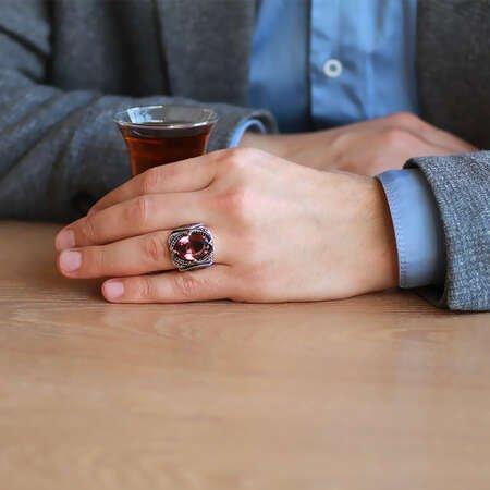 Soft Faset Zultanit Taşlı Yanları-Çevresi Mikro Taş Mıhlamalı 925 Ayar Gümüş Erkek Yüzük - Thumbnail