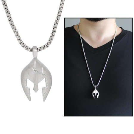 Şövalye Maske Tasarım Gümüş Renk Zincir Pirinç Kolye - Thumbnail