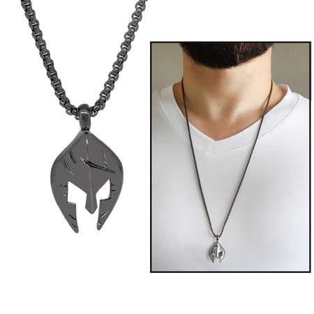 Şövalye Maske Tasarım Siyah Renk Zincir Pirinç Kolye - Thumbnail